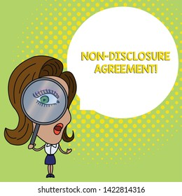Conceptual hand writing showing Non Disclosure Agreement. Business photo text Legal Contract Confidential Material or Information Woman Looking Trough Magnifying Glass Big Eye Speech Bubble.