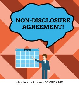 Conceptual hand writing showing Non Disclosure Agreement. Business photo text Legal Contract Confidential Material or Information Businessman Smiling and Pointing Calendar with Star on Wall.