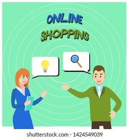 Conceptual hand writing showing Online Shopping. Business photo text allows consumers to buy their goods over the Internet Business Partners Colleague Jointly Seeking Problem Solution.