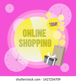 Conceptual hand writing showing Online Shopping. Business photo showcasing allows consumers to buy their goods over the Internet Greeting Card Poster Gift Package Box Decorated by Bowknot.
