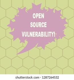 Conceptual hand writing showing Open Source Vulnerability. Business photo text Publicized Exploits are open to malicious users Oval Color Speech Bubble with Stars as Outline Text Space.