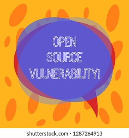 Conceptual hand writing showing Open Source Vulnerability. Business photo text Publicized Exploits are open to malicious users Blank Speech Bubble photo and Stack of Circle Overlapping.