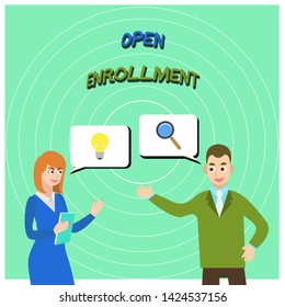 Conceptual hand writing showing Open Enrollment. Business photo text The yearly period when showing can enroll an insurance Business Partners Colleague Jointly Seeking Problem Solution.