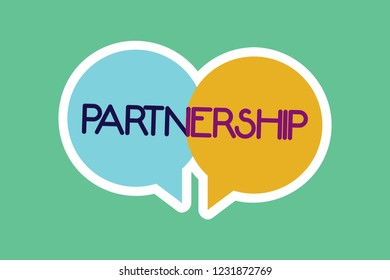 Conceptual hand writing showing Partnership. Business photo showcasing Association of two or more showing as partners Cooperation Unity