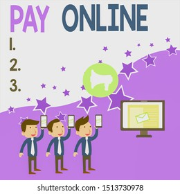 Conceptual hand writing showing Pay Online. Business photo showcasing buy products or service using credit card on any website SMS Email Marketing Media Audience Attraction PC Loudspeaker.