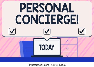 Conceptual hand writing showing Personal Concierge. Business photo text someone who will make arrangements or run errands Blank Huge Speech Bubble Pointing to the White Laptop Screen.