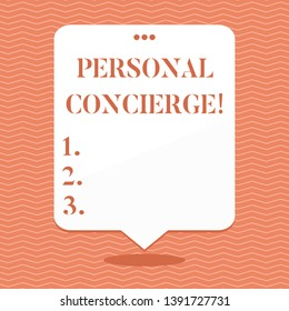 Conceptual hand writing showing Personal Concierge. Business photo showcasing someone who will make arrangements or run errands Blank White Speech Balloon Floating with Punched Hole on Top.