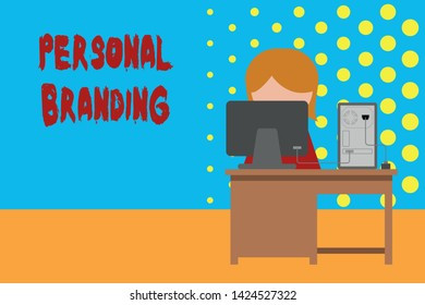 Conceptual hand writing showing Personal Branding. Business photo showcasing Practice of People Marketing themselves Image as Brands Young female working in office computer office monitor photo.