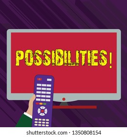 Conceptual hand writing showing Possibilities. Business photo text Things that may happen or be the case State of being possible Hand Holding Remote Control infront of Wide Color PC Screen.