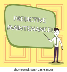 Conceptual hand writing showing Predictive Maintenance. Business photo text maintenance strategy driven by predictive analytics Confident Man in Tie, Eyeglasses and Stick Pointing to Board.
