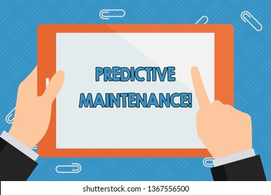 Conceptual hand writing showing Predictive Maintenance. Business photo showcasing maintenance strategy driven by predictive analytics Businessman Hand Holding and Pointing Colorful Tablet Screen.