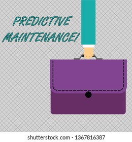Conceptual hand writing showing Predictive Maintenance. Business photo showcasing maintenance strategy driven by predictive analytics Businessman Carrying Colorful Briefcase Portfolio Applique.