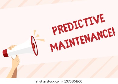 Conceptual hand writing showing Predictive Maintenance. Business photo text maintenance strategy driven by predictive analytics Human Hand Holding Megaphone with Sound Icon and Text Space.