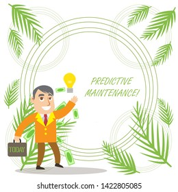 Conceptual hand writing showing Predictive Maintenance. Business photo showcasing Predict when Equipment Failure condition might occur Successful Businessman Generating Idea or Finding Solution.