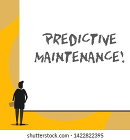 Conceptual hand writing showing Predictive Maintenance. Business photo showcasing Predict when Equipment Failure condition might occur Back view young woman watching blank big rectangle.
