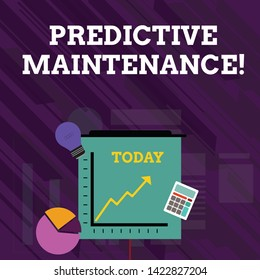 Conceptual hand writing showing Predictive Maintenance. Business photo text Predict when Equipment Failure condition might occur Investment Icons of Pie and Line Chart with Arrow Going Up.
