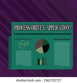 Conceptual hand writing showing Process Driven Application. Business photo showcasing workflow engine where process can be exposed Colorful Layout Design Plan of Text Line, Bar and Pie Chart.