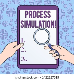 Conceptual hand writing showing Process Simulation. Business photo showcasing Technical Representation Fabricated Study of a system Hands Holding Magnifying Glass Against Switched Off Tablet.