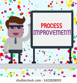 Conceptual hand writing showing Process Improvement. Business photo showcasing Optimization Meet New Quotas Standard of Quality Office Worker Sunglass Blank Whiteboard Meeting Presentation.