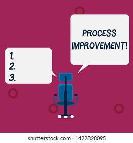 Conceptual hand writing showing Process Improvement. Business photo text Optimization Meet New Quotas Standard of Quality Wheeled work chair with three wheels and two arms present speech.