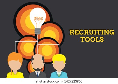 Conceptual hand writing showing Recruiting Tools. Business photo text getting new talents to your company through internet or ads Three executive persons sharing idea Startup team meeting.