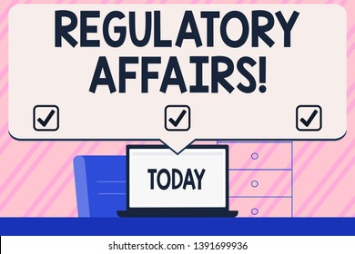 Conceptual hand writing showing Regulatory Affairs. Business photo text the desire of governments to protect public health Blank Huge Speech Bubble Pointing to the White Laptop Screen.