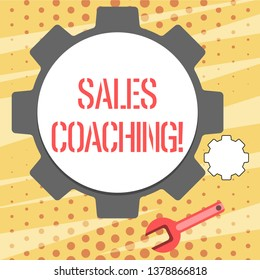 Conceptual hand writing showing Sales Coaching. Business photo showcasing analysisage their team by analyzing metrics and KPIs of selling Wheel Gear and Wrench Mechanical Tool for SEO and Web Icon.