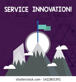 Conceptual hand writing showing Service Innovation. Business photo showcasing Improved Product Line Services Introduce upcoming trend Three High Mountains with Snow and One has Flag at the Peak.