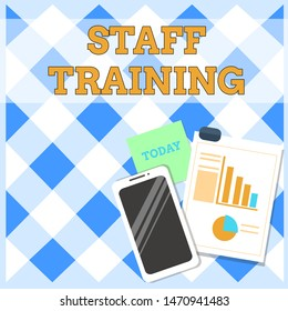 Conceptual hand writing showing Staff Training. Business photo text A program that helps employees to learn specific knowledge Layout Smartphone Sticky Notes with Pie Chart and Bar Graph.