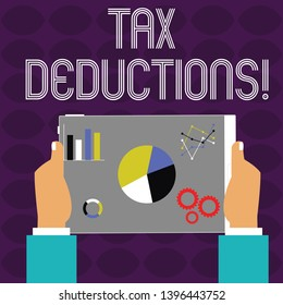 Conceptual hand writing showing Tax Deductions. Business photo text amount or cost that can be subtracted from someone s is income Hands Holding Tablet with Search Engine Optimization on the Screen.