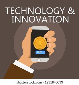 Conceptual hand writing showing TechnologyandInnovation. Business photo showcasing Application of better Solution for New Market Needs