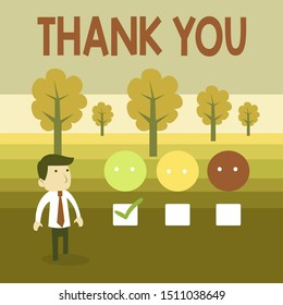 Conceptual hand writing showing Thank You. Business photo text a polite expression used when acknowledging a gift or service White Questionnaire Survey Choice Satisfaction Green Tick.