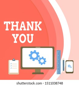 Conceptual hand writing showing Thank You. Business photo text a polite expression used when acknowledging a gift or service Business Concept PC Monitor Mobile Device Clipboard Ruler.