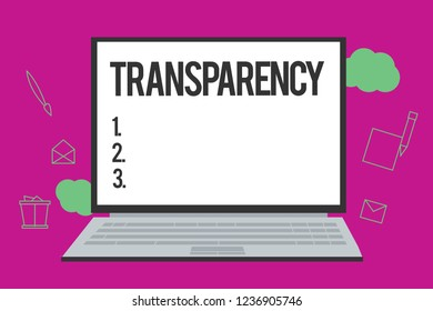 Conceptual hand writing showing Transparency. Business photo text Condition being transparent clear obvious evident Translucent
