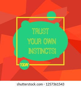Conceptual hand writing showing Trust Your Own Instincts. Business photo showcasing Intuitive follow demonstratingal feelings confidence Blank Oval photo Abstract Shape inside a Square Outline.