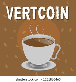 Conceptual hand writing showing Vertcoin. Business photo text Cryptocurrency Blockchain Digital currency Tradeable token