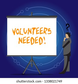 Conceptual hand writing showing Volunteers Needed. Business photo showcasing Social Community Charity Volunteerism.