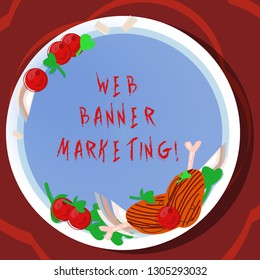 Conceptual hand writing showing Web Banner Marketing. Business photo showcasing entails to embed an advertisement in a web page Hand Drawn Lamb Chops Herb Spice Cherry Tomatoes on Plate.
