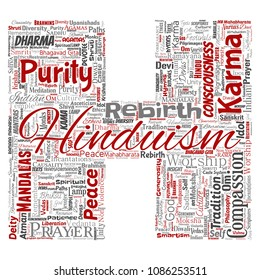 Conceptual hinduism, shiva, rama, yoga letter font H red word cloud isolated background. Collage of mandalas, samsara, celebration, tradition, peace, compassion, rebirth, karma, dharma concept