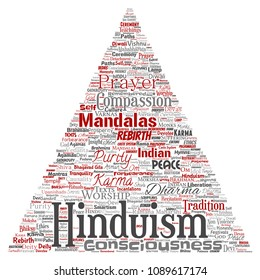 Conceptual hinduism, shiva, rama, yoga triangle arrow red word cloud isolated background. Collage of mandalas, samsara, celebration, tradition, peace, compassion, rebirth, karma, dharma concept