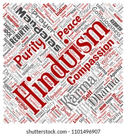 Conceptual hinduism, shiva, rama, yoga square red word cloud isolated background. Collage of mandalas, samsara, celebration, tradition, peace, compassion, rebirth, karma, dharma concept