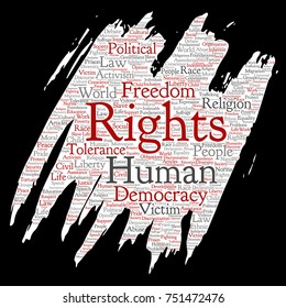 Conceptual human rights political freedom, democracy paint brush paper word cloud isolated background. Collage of humanity tolerance, law principles, people justice or discrimination concept