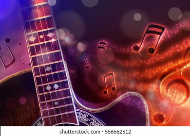 Conceptual illustration acoustic guitar music with flying notes, brightness and black, red and blue background. Front view. Horizontal composition.