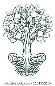 A conceptual illustration of an apple tree with stylised roots