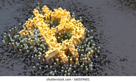 Conceptual illustration of a Bitcoin sign shown as a huge array of small digital particles with depth of field, high resolution 3d render
