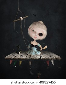 Conceptual illustration of broken doll with buttons