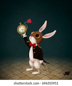 Conceptual illustration with  character from  fairy tale Wonderland with  White Rabbit and  destruction of  Clock.
