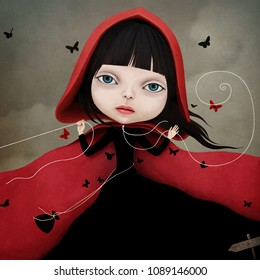 Conceptual illustration with a fairy tale character little Red riding hood.