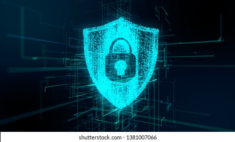 Conceptual illustration graphic 3D render of Safety of data from viruses, malware and backdoor hacking using encryption password and internet privacy protection of online data