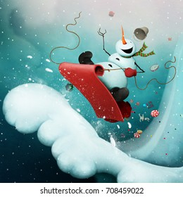 Conceptual illustration for greeting card for Christmas or New Year with  Crazy Snowman, racing with  snowy mountain on  sled with gifts.